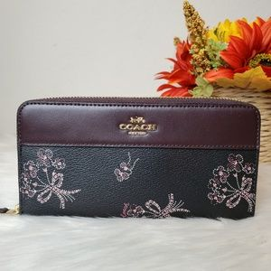 COACH ACCORDION ZIP WALLET RIBBON BOUQUET PRINT